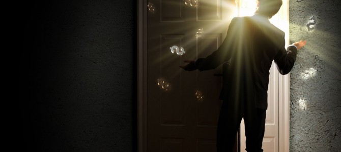 21789377 - image of young businessman standing with back opening door against dollar sigh background