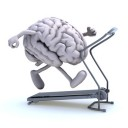 human brain with arms and legs on a running machine, 3d illustration